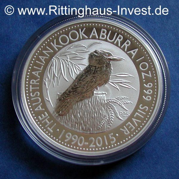 2015 Kookaburra 25 Jahre Tribute Silbermünze 1990-2015 1Oz Silber 999