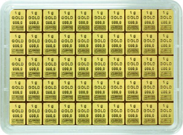 50x1g Combibar teilbare Goldbarren Goldtafel 50 x 1g