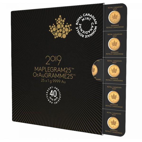 Maplegram25 2019 25x1g Goldmünzen Maple Leaf Gold 40 Jahre Jubilaeum
