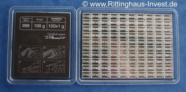 combicoin Valcambi Suisse Cook Islands 100x1g silver coin bars coinbar