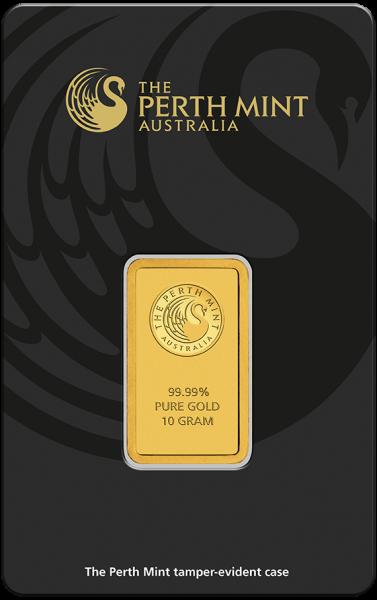 Goldbarren 10 Gramm Kangaroo Känguru Vorderseite schwarzer Blister