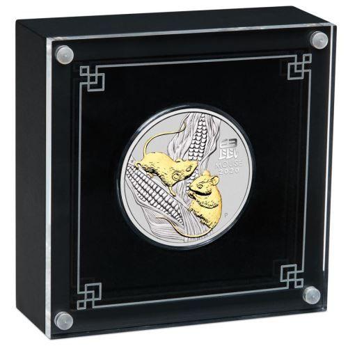 Lunar III Maus 2020 vergoldet Silber Mouse gilded Box