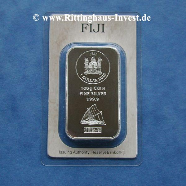 100g Silberbarren Silbermünzbarren Argor Heraeus Fiji coin fine silver bar 100 gramm Blister