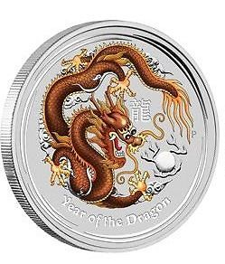 Lunar II Drache 2012 brown braun the Perth Mint farbig coloriert coloured