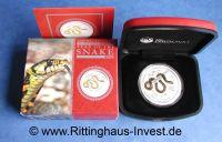 Lunar 2 Schlange vergoldet gilded Perth Mint snake 2013 box