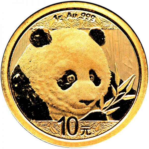 China Panda 2018 1 Gramm Goldmünze 2018 999 Gold Rückseite
