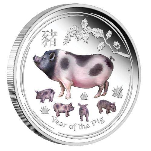 Lunar II Schwein 1oz Silbermünze Farbe farbige polierte Platte Proof Silber Pig 2019