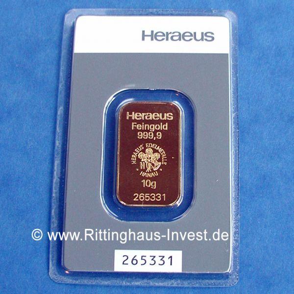 Heraeus Feingold 999,9 10g Goldbarren 10 Gramm Gold Barren goldbar