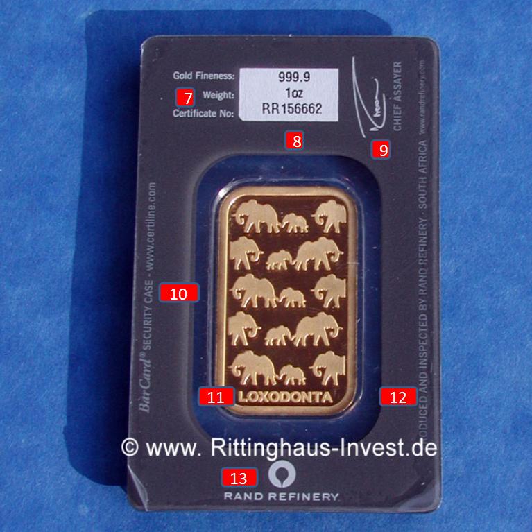 rand-refinery-elefanten-elephant-goldbarren-merkmale-ruckseite