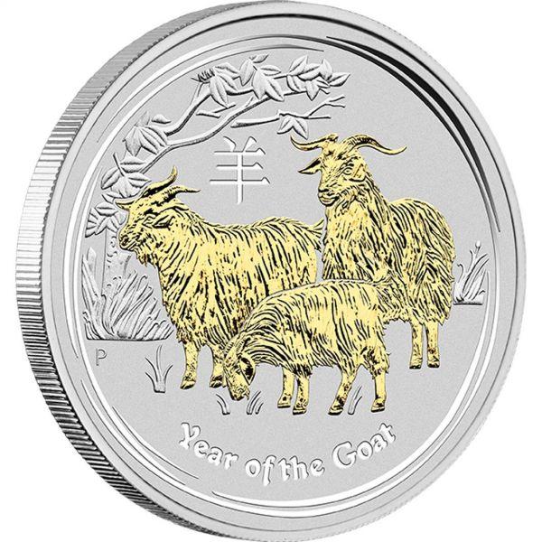 Lunar 2 Ziege vergoldet gilded goat Perth Mint Australia Australien