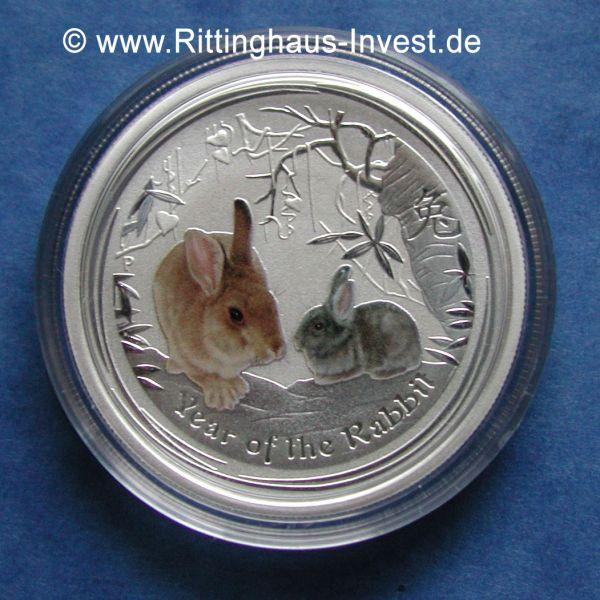 Silbermünze Lunar II Hase farbig coloriert Perth Mint coloured 2 Oz Farbe Silber rabbit 2011