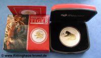Lunar 2 Tiger vergoldet gilded Perth Mint  2010 box