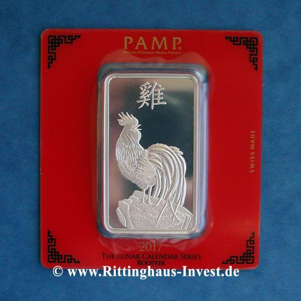 Silberbarren 100 g Lunar Hahn Pamp Suisse 999 Feinsilber Blister