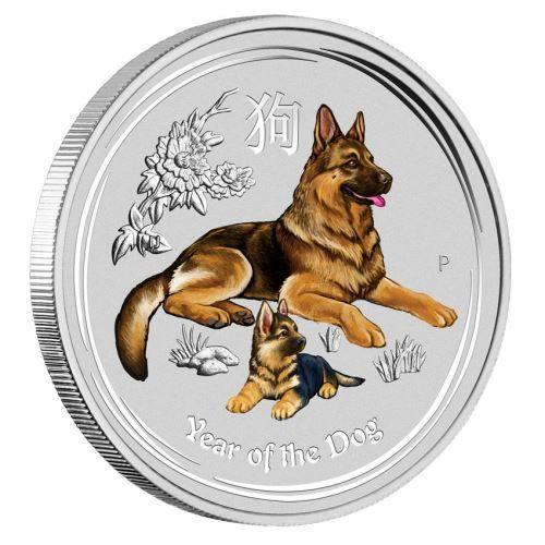 farbig colorierte Silbermünze Lunar II Hund 2018 1 oz Silber