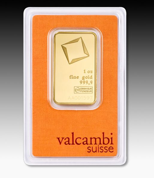 1 oz Valcambi Suisse 999.9 Fine in Assay Gold Bar