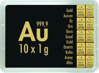 10x1g Combibar teilbare Goldbarren Goldtafel 10 x 1g