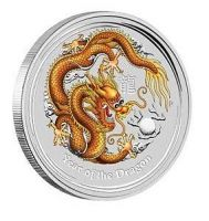 Lunar 2 dragon gold coloured edition perth mint 2012 year of Drache farbig coloriert