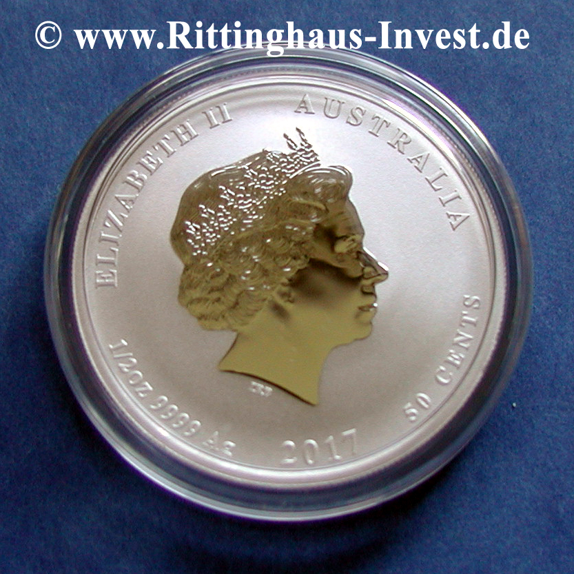 Coloured Silver Coin 1 2oz Lunar Ii Rooster 2017 Silver
