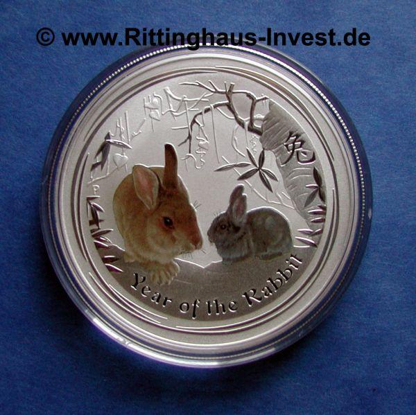 Lunar 2 Hase farbig coloriert coloured Perth Mint Silbermünze silver coin Australia Australien