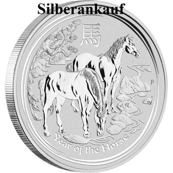 Ankauf Silbermünze Silbermünzenankauf Silber Bargeld Lunar II Pferd 2014 horse