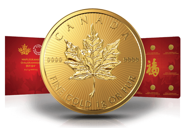 Maplegram8 8 x 1 Gramm Goldmünzen Maple Leaf
