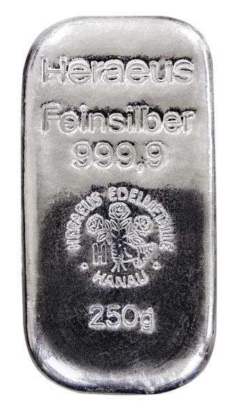 Heraeus 250 g Silberbarren 999,9 Feinsilber Gussbarren