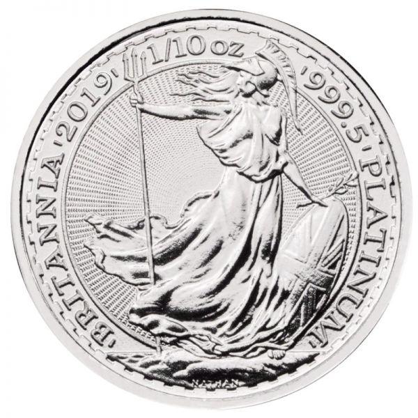 2019 Britannia 1/10 oz Platinmünze 999.5 Platin zehntel Unze