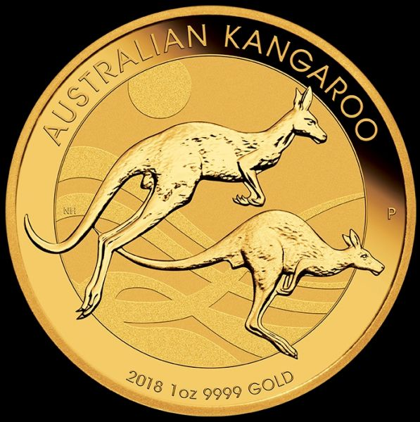 Australian Kangaroo 2018 1 Unze Goldmünze Känguru the Perth Mint