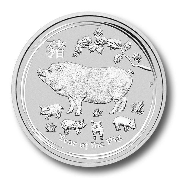 Lunar II Schwein 2019 Silbermünze 10 Unzen 10oz Perth Mint Pig