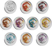 the Perth Mint Lunar Dragon Drache 2012 coloriert farbig coloured 10 coin set 10 Münzen Set