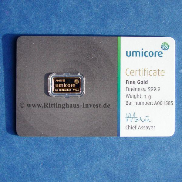 Goldbarren Umicore 1g Gold Blister Zertifikat 999.9 Gold