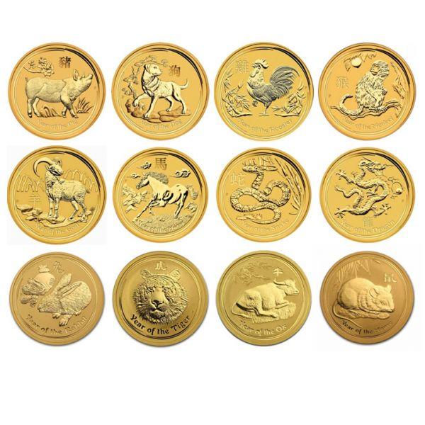 Lunar II Goldmünzen komplett Set 12 x 1/10oz 12 zehntel Unzen komplette Serie gold coins