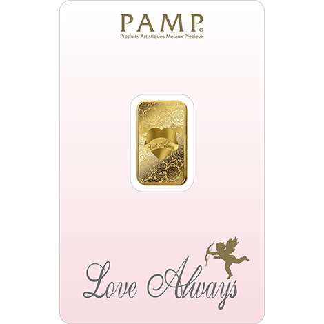 Pamp Suisse Love Always 5g Goldbarren Blister Valentinstag Hochzeit Liebe Geschenkbarren