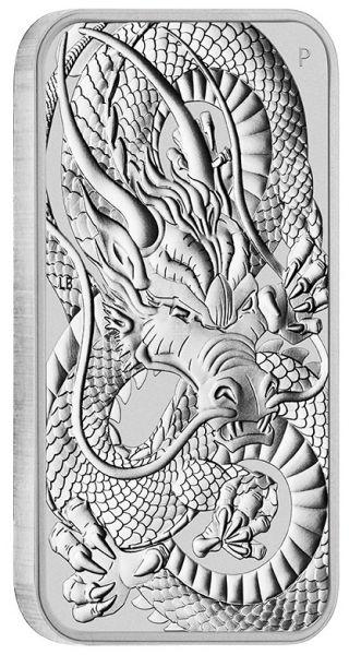 Silbermünzbarren Drache Dragon Perth Mint rectangular 2021 1 Unze