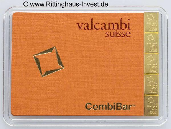 Combibar 5 x1 g Tafelbarren teilbares Gold 5 Gramm