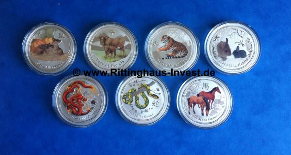 0,5 Oz Lunar II Silbermünzen farbig coloriert coloured silvercoins the perth Mint Australia Australien