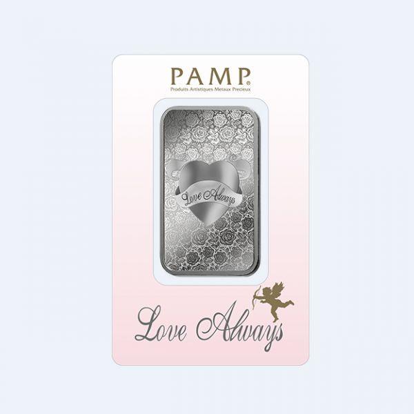 Silberbarren 1 Unze Pamp Suisse Love Always 999 Feinsilber Blister Valentinstag