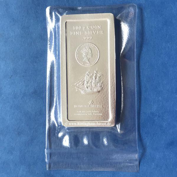 100g Cook Islands Silbermünzbarren Heimerle+Meule geprägt silver coinbar Silberbarren