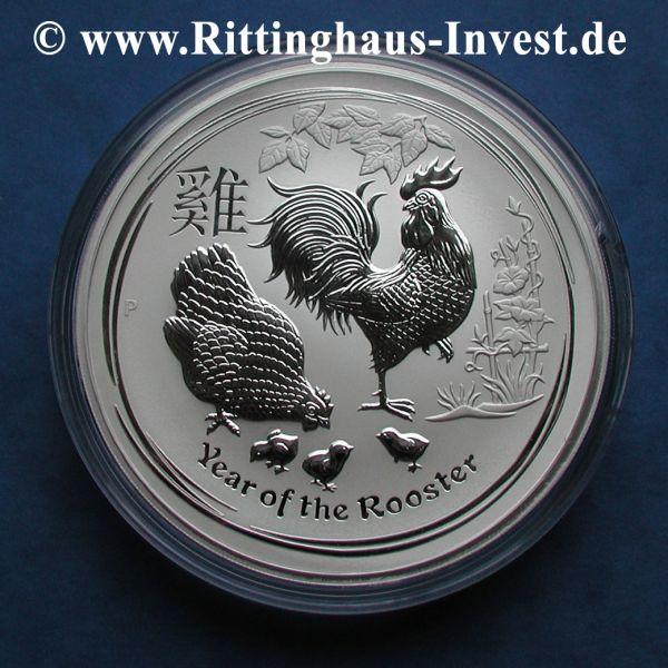 Silbermünze 1 Unze Lunar II Hahn 2017 1oz Jahr des Hahn Silber