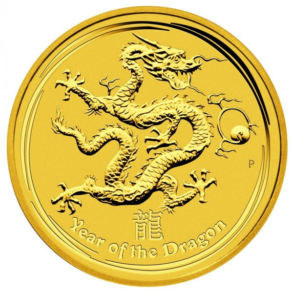 lunar II perth mint Drache 1 Unze 1oz Gold Goldmünze Year of the Dragon 2012 Perth Mint