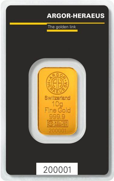 Goldbarren Argor-Heraeus 10g im Blister 999.9 Gold bar