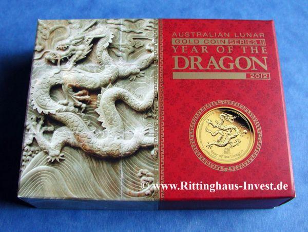 Gold Coin Lunar Ii Dragon 2012 1 10 Oz Proof In Box Perth Mint