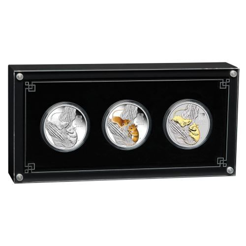 Lunar III Maus Silbermünzen Set Trio Silver Trio 2020 Perth Mint Box