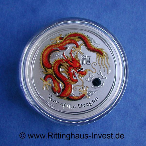 the Perth Mint Lunar 2 Drache dragon farbig coloured red 2012 1$